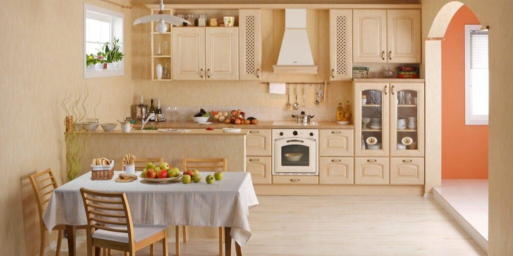 Мебель в кухне светлая дизайн
