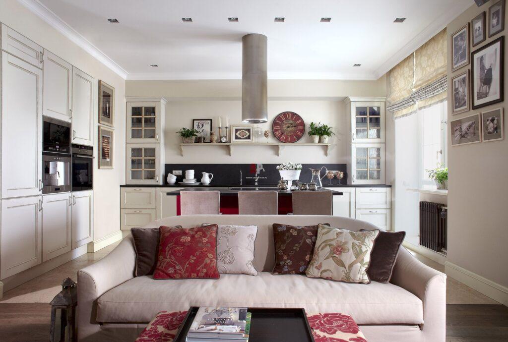 Кухня совмещенная с гостиной в стиле прованс дизайн