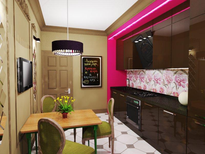 Дизайны кухни 12 кв.м с диваном и телевизором