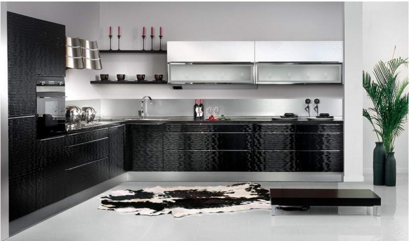 Дизайн черно-белой кухни в стиле модерн