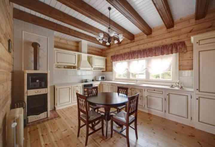 Дизайн кухни с балками на потолке