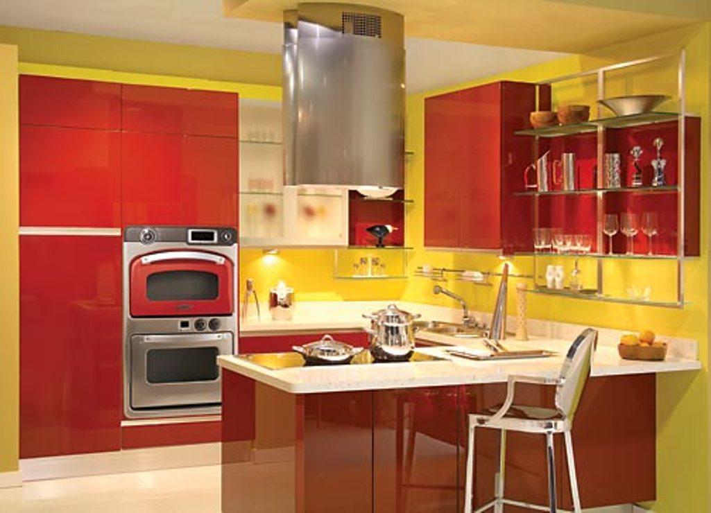 Зеленая красная кухня фото