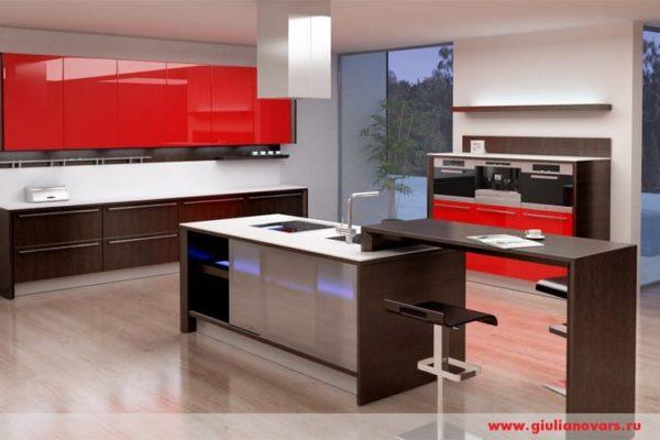 Красная кухня с коричневым