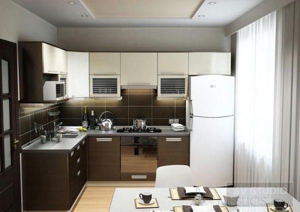 Бежевая кухня с венге