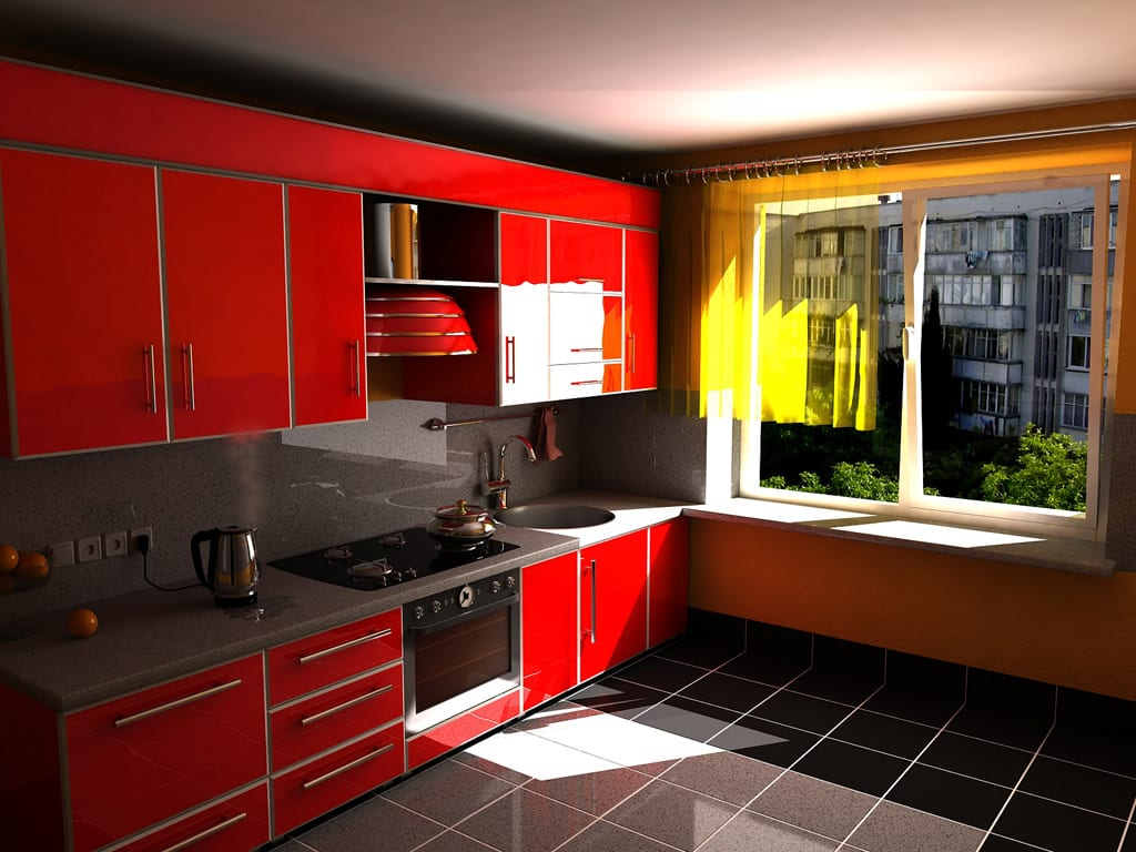 Дизайн интерьера красной кухни фото