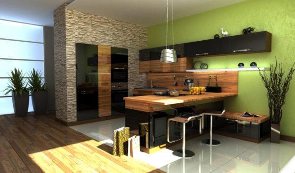 Зебрано с зеленым на кухне