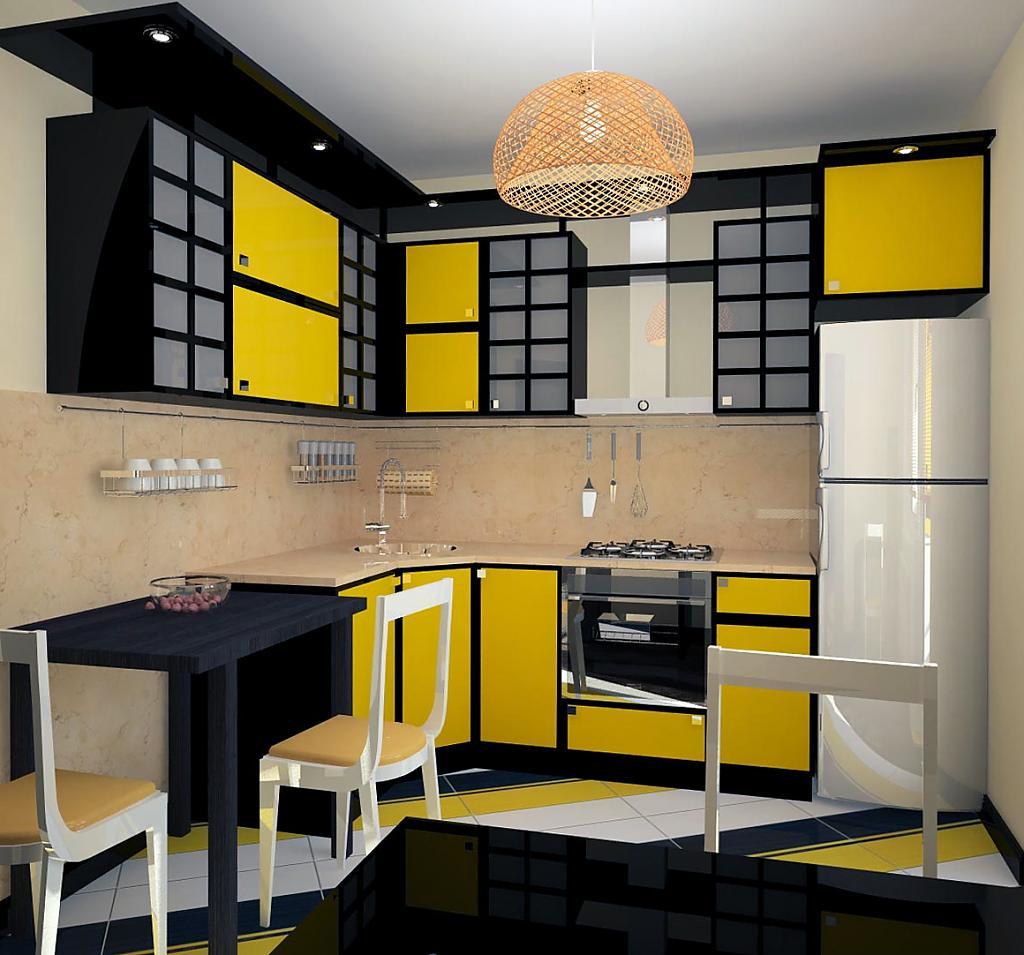 Дизайн с желтой кухней