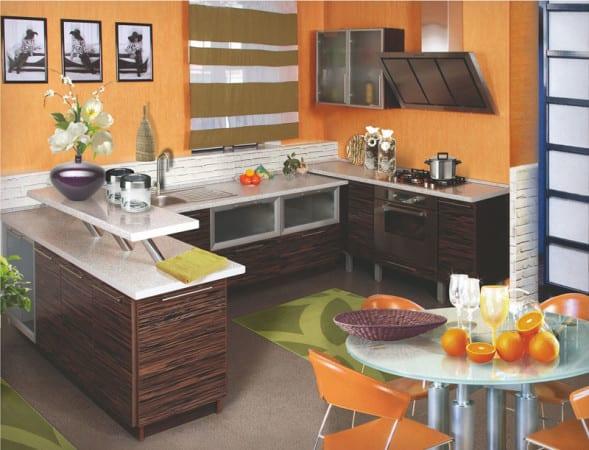 Кухня зебрано с оранжевым