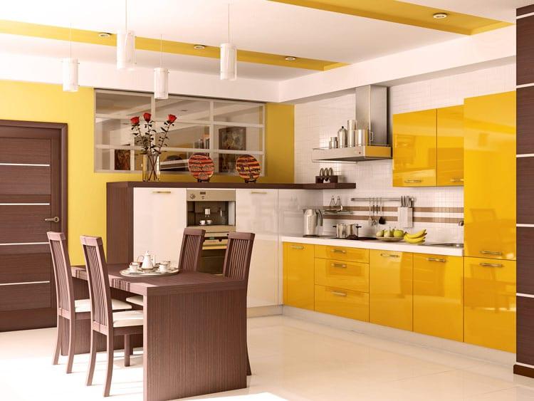 Горчичная кухня в интерьере фото