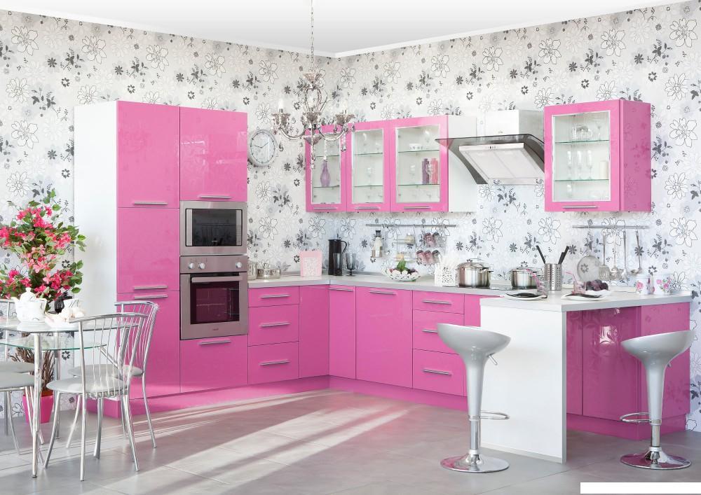 Бледно розовая кухня