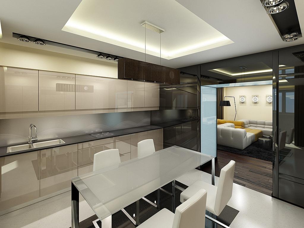 Дизайн кухня хайтек
