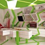 Green-white-unique-contemporary-kitchen