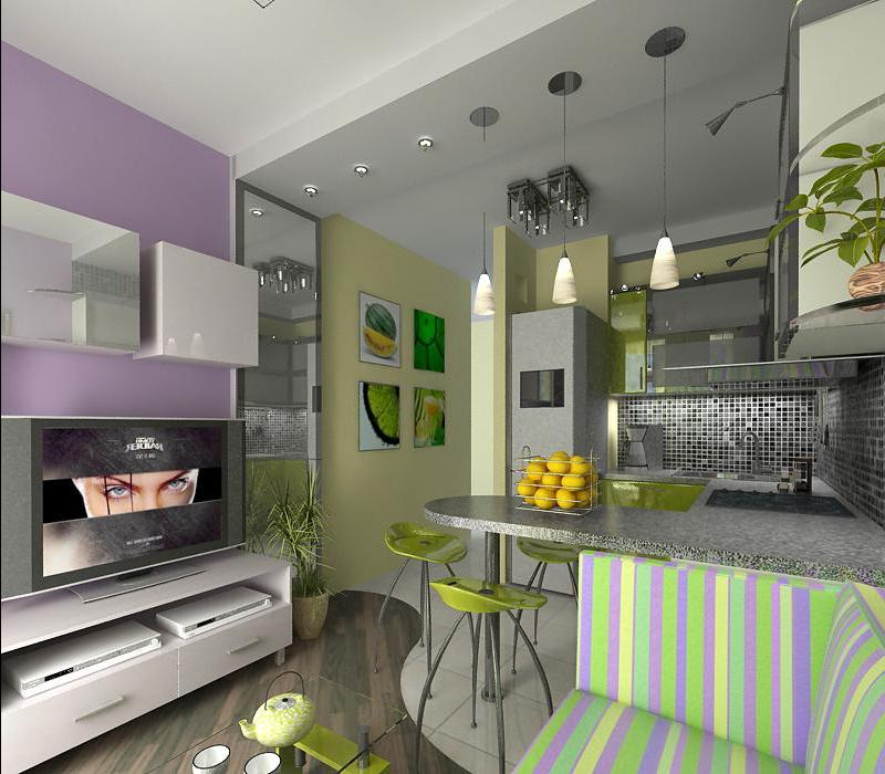 Маленькая комната студия дизайн с кухней