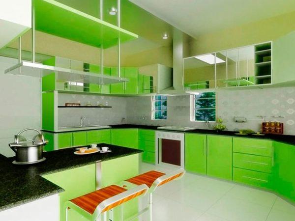 Зеленая кухня — летнее настроение в интерьере