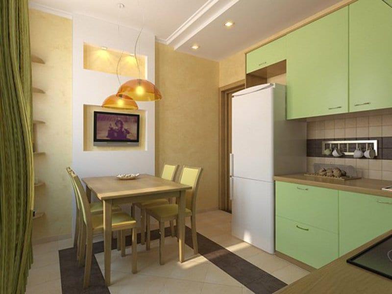 Дизайн на кухне фисташка