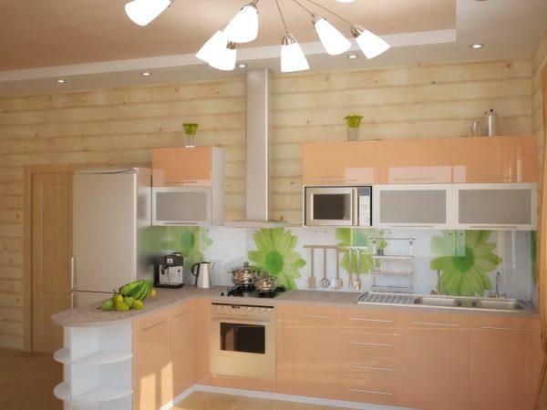 Освещение кухни персикового цвета