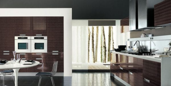Кухня цвета венге в стиле модерн
