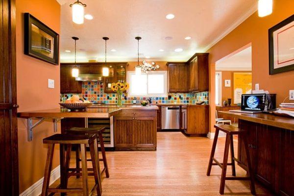 Персиковая кухня в стиле ретро, прованса и кантри