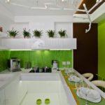 Белая кухня на зеленой кухне