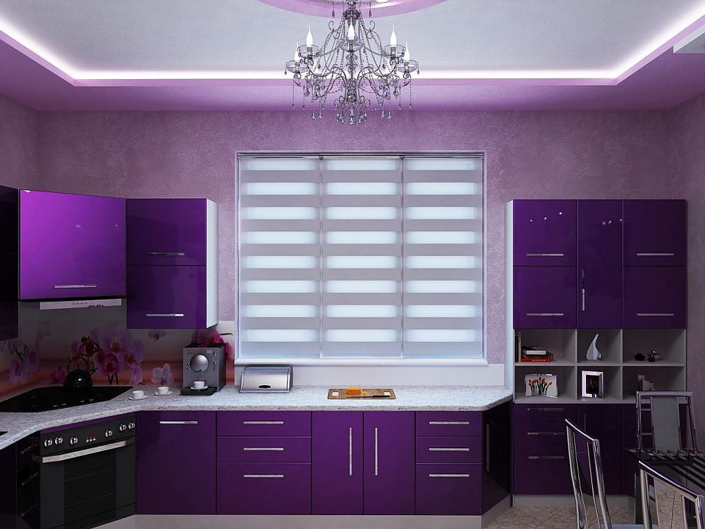 Фиолетовый интерьер кухни фото 196