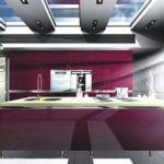 ultra-modern-kitchen-design-with-purple-color-and-arch-lamp-915x643