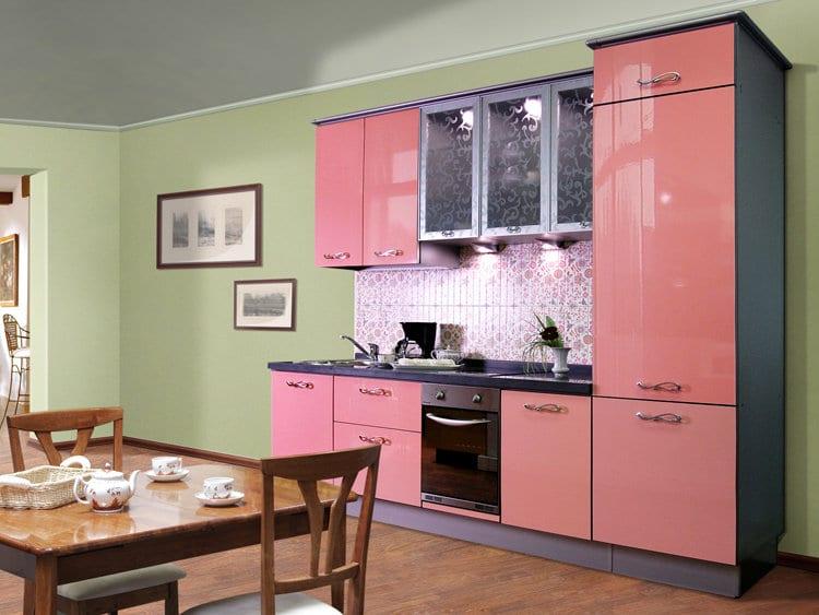 Розово зеленая кухня