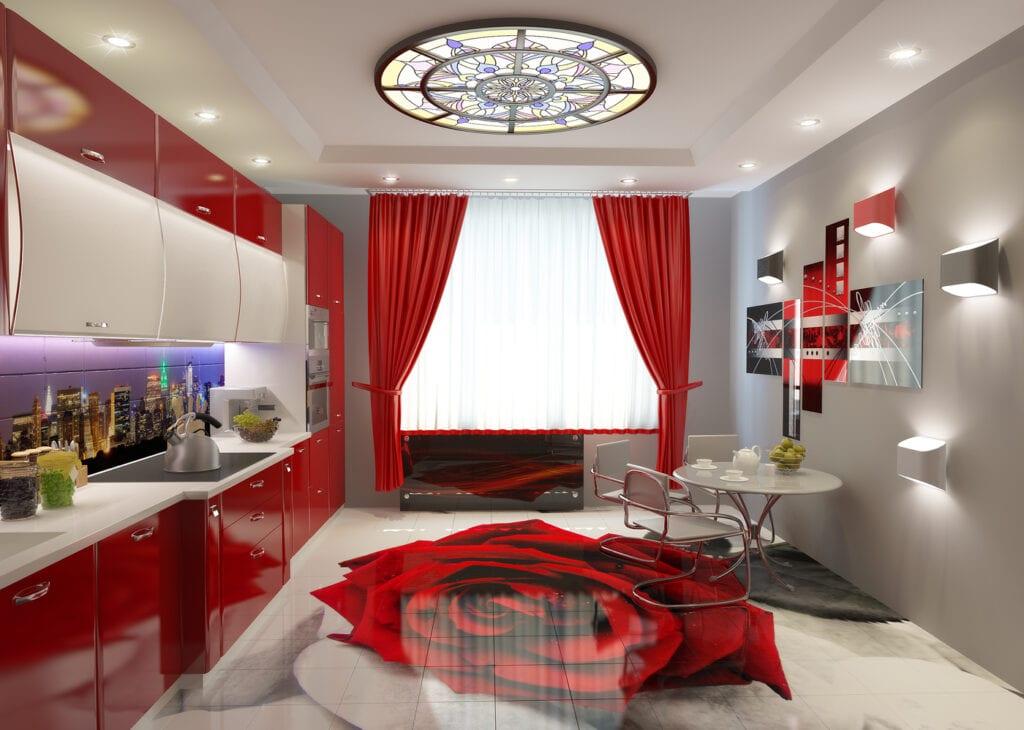 Дизайн кухни с красным цветом фото