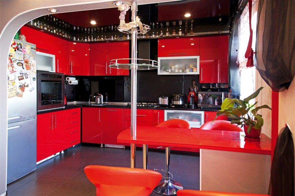 Кухни красно черного цвета фото