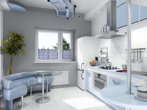 Серо-голубая кухня
