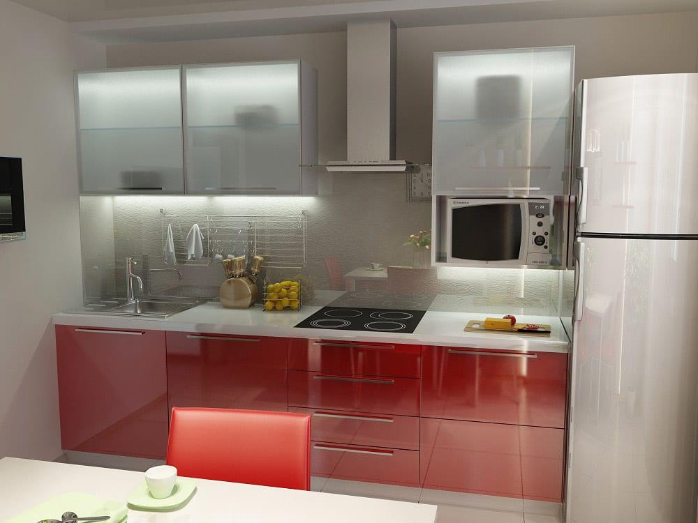 Дизайн красно-серой кухни