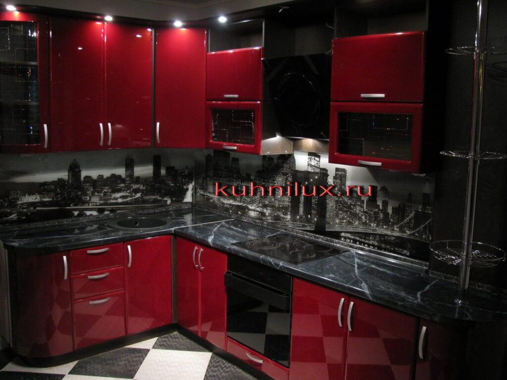 Дизайн красно черной кухни фото