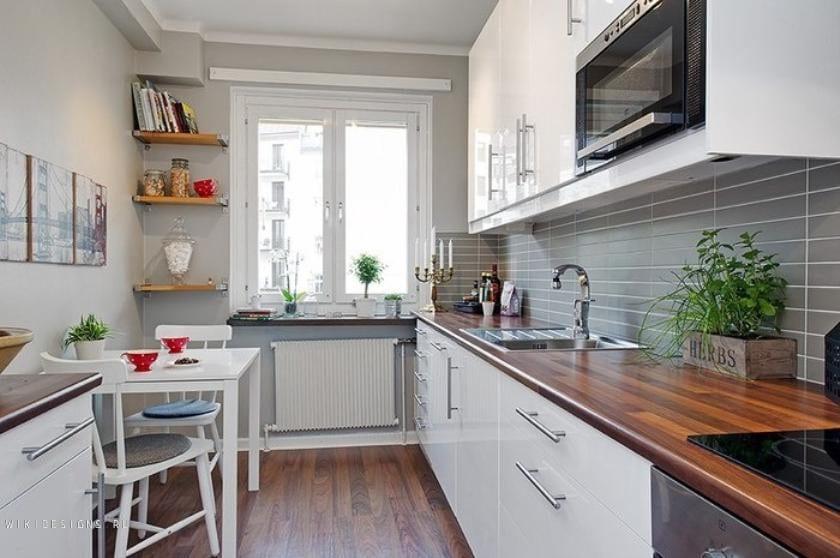 Дизайн маленькой кухни прямоугольной кухни