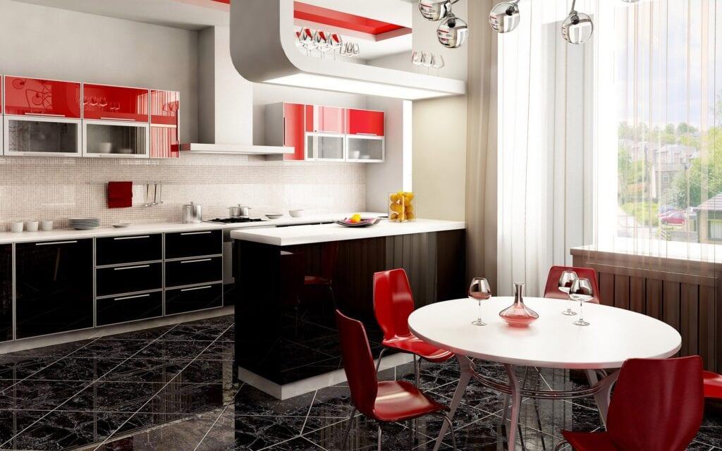 Бело черный интерьер кухни столовой