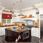Beautiful Custom Kitchen Interior With Fall Decorations in a New House