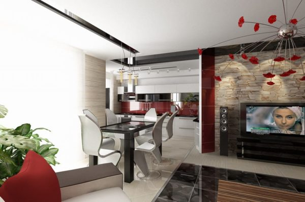 Совмещение кухни в современном стиле с гостиной