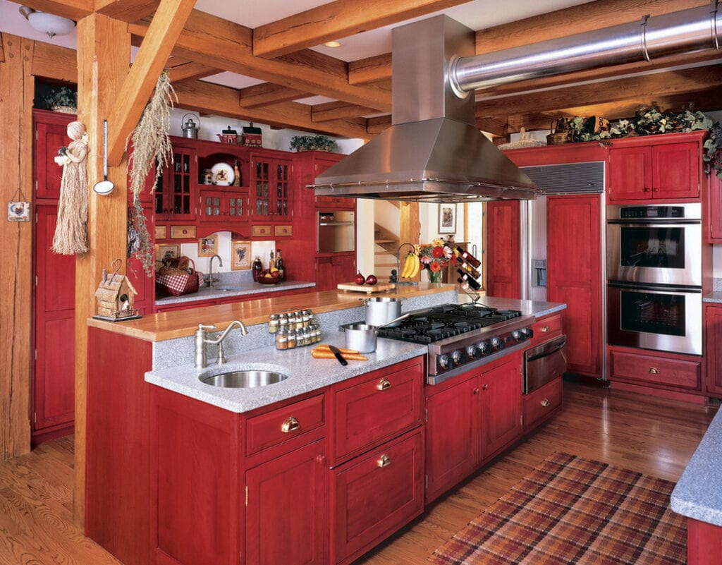 Красно-черная кухня дизайн
