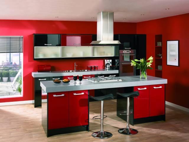 Красно черная кухня фото дизайн
