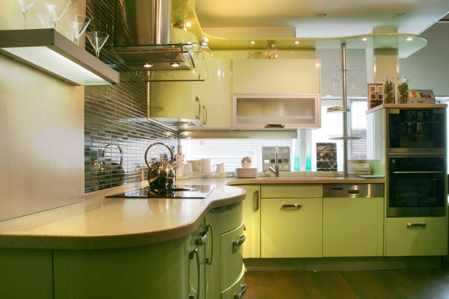 Дизайн кухни фисташкового цвета