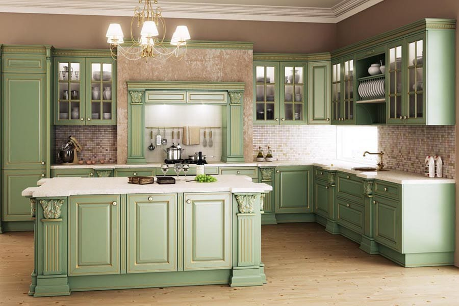 Интерьеры кухни в доме из бревна