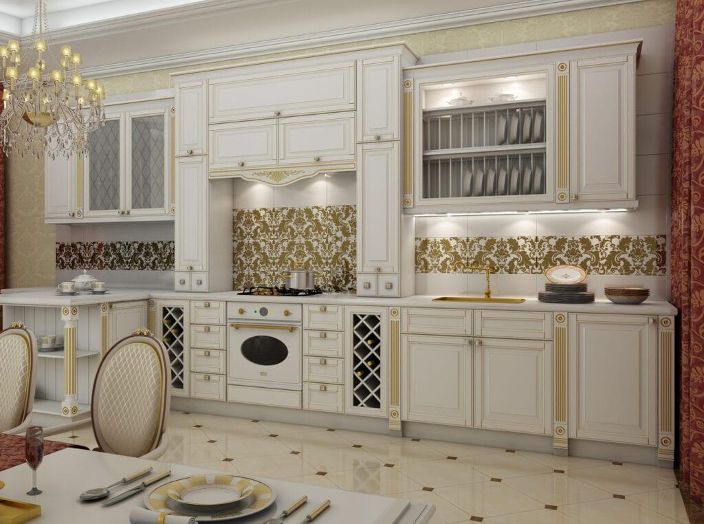 Кухни с золотой патиной фото
