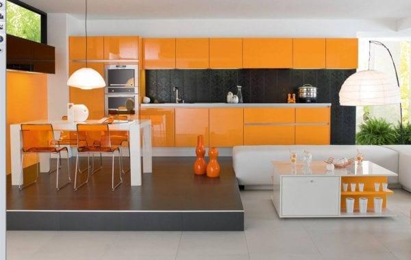Черно-оранжевая кухня: 60 фото проектов, дизайн своими руками, видео, гарнитур, плитка