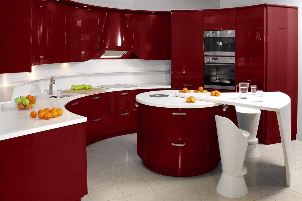 Дизайн кухни цвет вишни