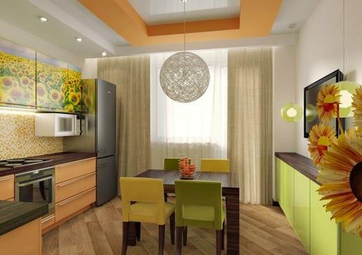 На такой кухне в желтых и зеленых тонах приятно находиться