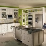 Amazing-15-Green-Kitchen-Designs-With-white-green-kitchen-wall-sink-oven-stove-cabinet-window-curtain-glass-door-rug-refrigerator-and-ceramic-floor