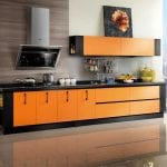 Awesome-Ways-to-Building-Cabinet-Designs-With-modern-black-orange-kitchen-island-and-cabinets-and-kitchen-tiles-flooring