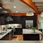 Contemporary-kitchen-in-orange-and-black