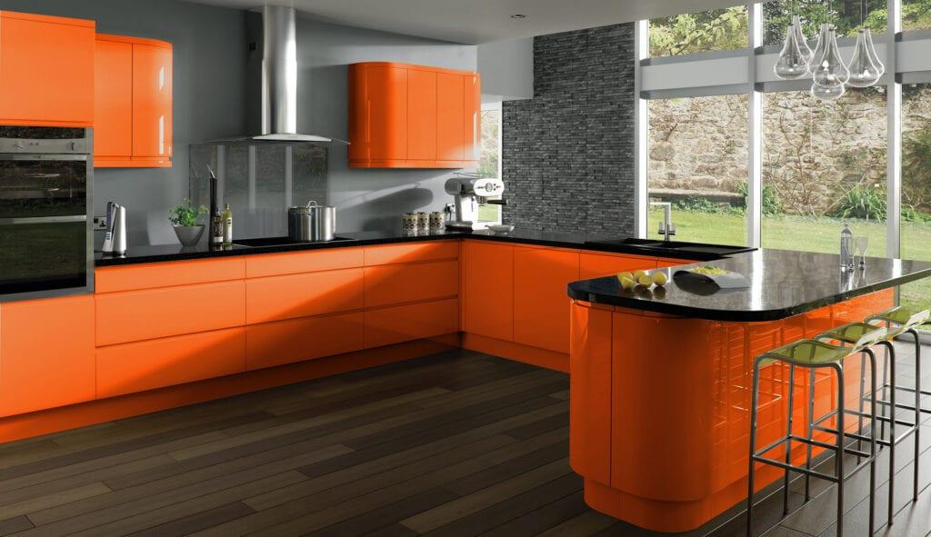 Дизайн оранжевые кухни фото
