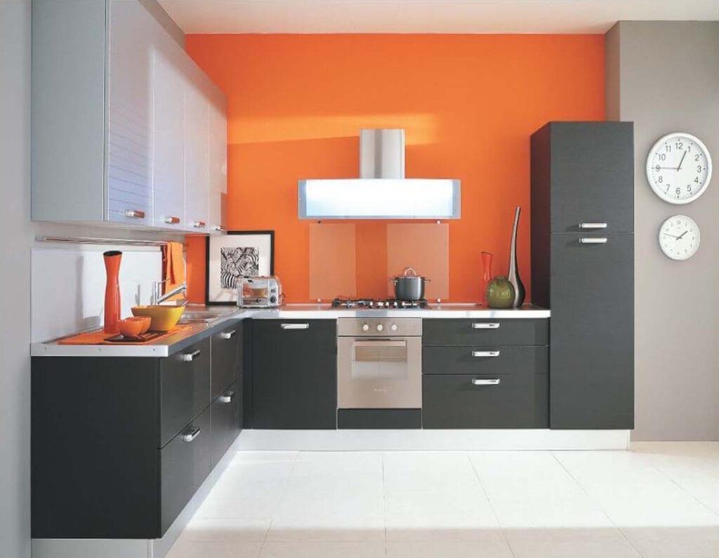 Сочетание цветов красный и серый в интерьере кухни фото