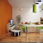 Orange-Lime-Green-Dining-Living-Room-with-White-Brickwall