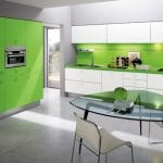 White-And-Green-Color-Kitchen-Interior-Design-With-White-Varnished-Wooden-Kitchen-Cabinet-With-Green-Marble-Countertop-Also-Green-Stained-Wooden-Kitchen-Cabinet-And-Modern-Glass-Dining-Table
